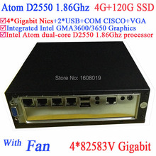 Mini PC Media Server with Intel Dual Core D2550 1.86Ghz 4*82583V Gigabit LAN Wake on LAN Watchdog 4G RAM 120G SSD Linux