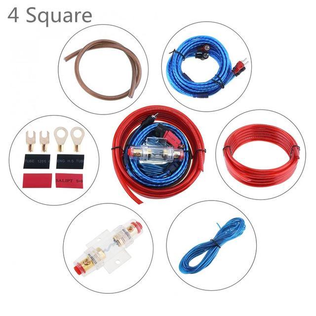 Special Price 1 Set 350 Core 4 Square PVC + Copper Clad Aluminum Car Amplifier Audio Speaker Woofer Cables Power Line with 60A Fuse Holder