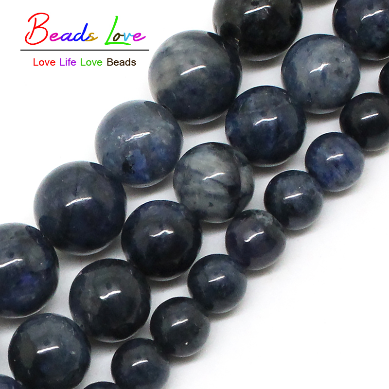 Natural Blue Stone Round Beads For Jewelry Making 4/6/8/10/12mm Pick Size 15inches DIY Jewellery Necklace (F00583)