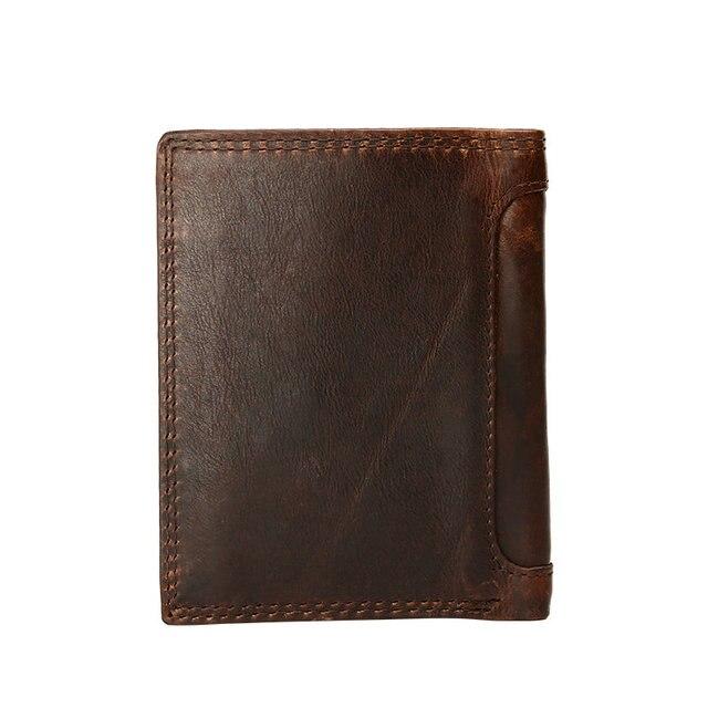 Génodern Vintage hommes portefeuilles Crazy Horse cuir portefeuilles pour hommes Multi fonction hommes portefeuille avec poche à monnaie marron homme sac à main