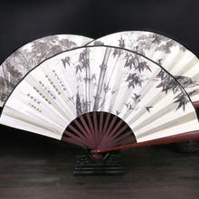 Винтажный китайский складывающийся веер из бамбукового шелка, ручное свадебное украшение, высокое качество, украшение для дома 16