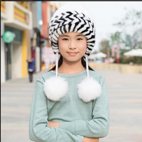 Russia Hot Sale Baby Girls Mink Knitted Hat With Fox Fur Ball Pompoms Children Autumn Winter