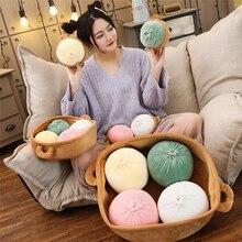 Almohada de felpa de simulación creativo divertido Buns tradicional comida almohada una jaula bollo de peluche juguetes creativos para niños regalo de cumpleaños