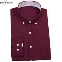 BIANYILONG Casual Men Shirt Long Sleeve 60 Cotton Oxford Shirt Men Business Mens Dress Shirts Male