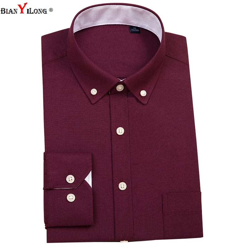 BIANYILONG Casual Men Shirt Long Sleeve 60% Cotton Oxford Shirt Men Business Mens Dress Shirts Male Social Clothes Chemise S-5XL