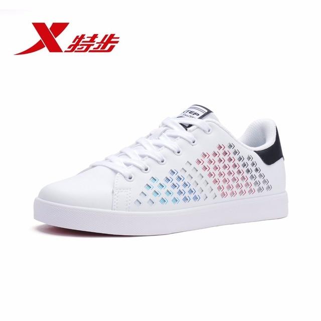 982119319017 Xtep Новинка весны 2018 кожа белый студент для мужчин's обувь для скейтбординга