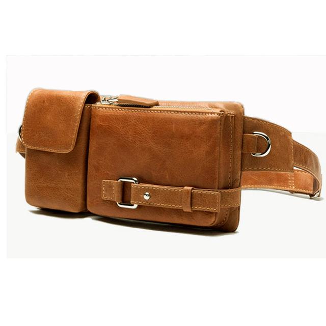Fashion Genuine Leather waist Pack men Waist Bag Leather Fanny Pack belt bag bum bag money belt waist pouch molle pochete