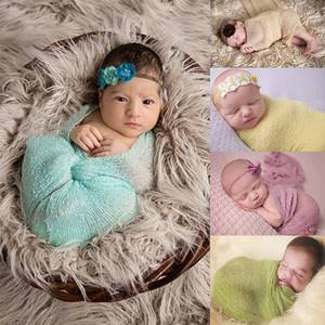 2018 Baby Swaddling Newborn Photography Props Accessories Top Quality Girl Shawl Infant Receiving Blanket Pure Solid Nursery Bed