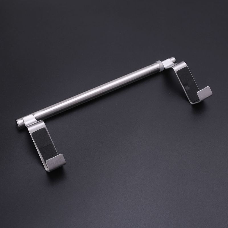 Extendable Towel Rack Over Door No Drill Stainless Steel Towel Rod Hanging Holder Towel Bar Rail Use for Bathroom Kitchen Cabinet