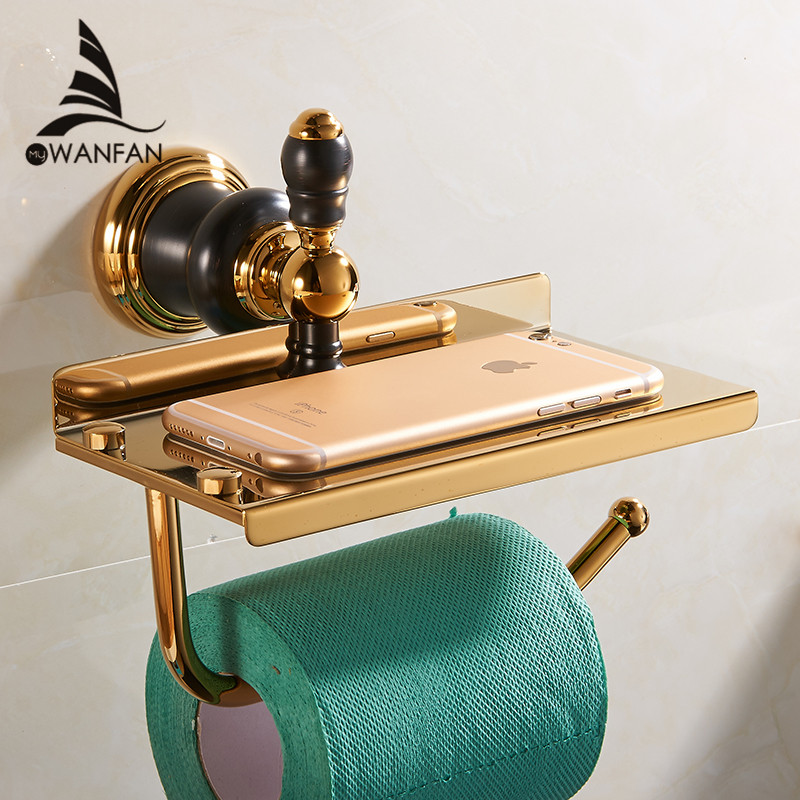 Paper Holders Wall Mounted Brass Gold with Black Decor Roll Holder Toilet Paper Holder Tissue Box Bathroom Accessories XL-66807 european black copper tissue roll holder vintage brushed toilet paper holder paper box wall mounted bathroom accessories j33