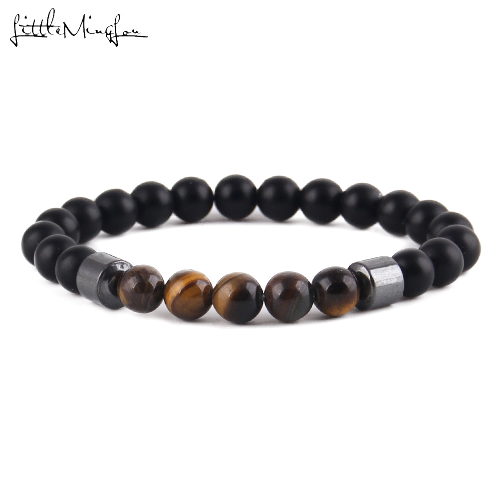 Hematite charm Yoga Meditation Health Relieve Stretch armband Tiger eye Natural stones beads Bracelets For mens jewellery in Charm Bracelets from Jewelry Accessories