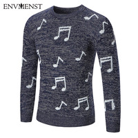 Envmenst 2017 New Arrival Autumn Winter Men Sweaters Note Printed Knitwear Pullovers Male Slim Fit Knitting Clothes