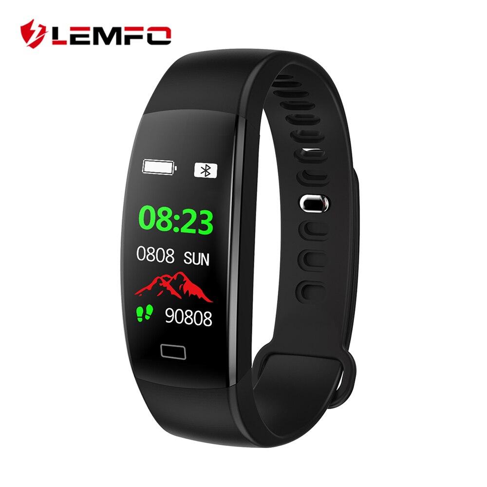 LEMFO Smart Fitness pulsera hombres pantalla a Color IP68 impermeable presión arterial Monitor de ritmo cardíaco pulsera para Android IOS