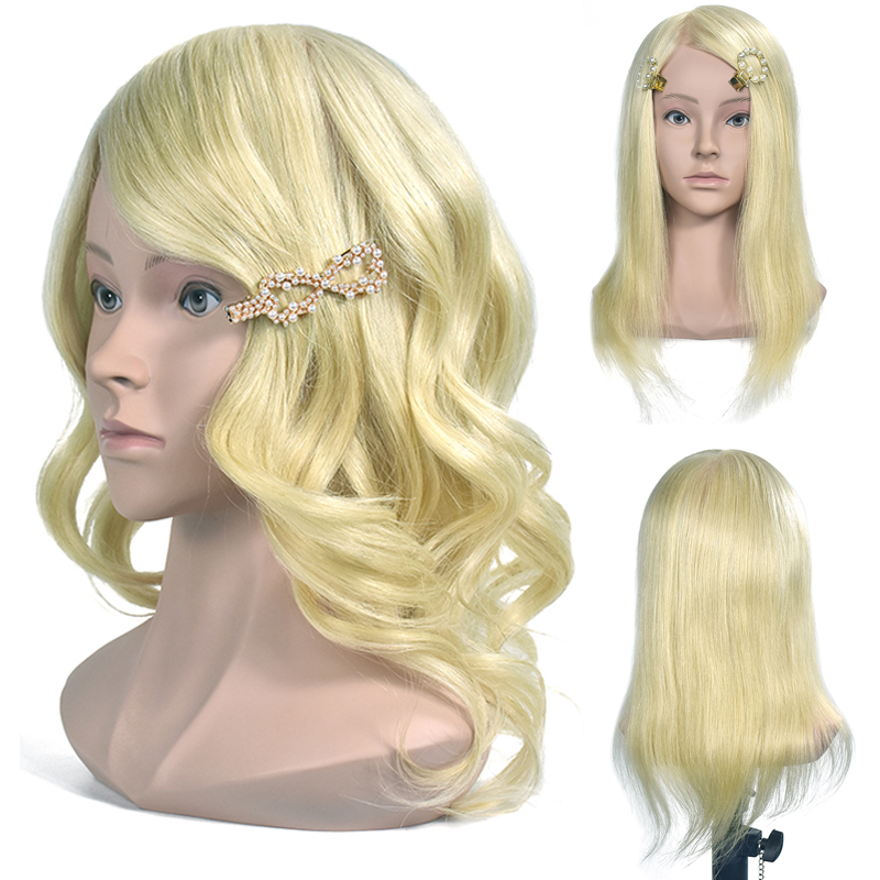 Mannequin Head Blonde 100% Real Human Hair Hairdresser Training Head Manikin Cosmetology Doll Head (Table Clamp Stand Included)