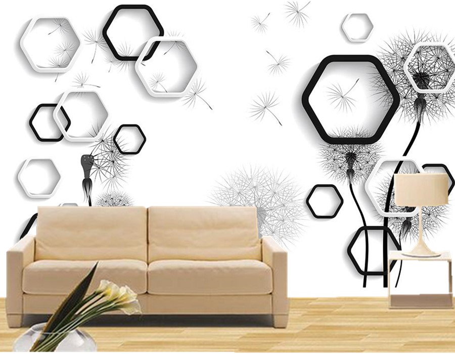 Custom 3d mural.Fresh black and white dandelion modern wallpaper,living room tv sofa wall children bedroom mural papel de parede black dandelion wall sticker wallpaper page 3