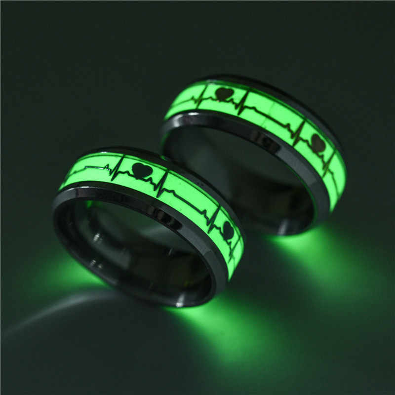 Fashion Luminous Plated silver Ring Dark Golden Dragon Inlay Green Background Fashion Men And Women Fluorescent Glowing Rings