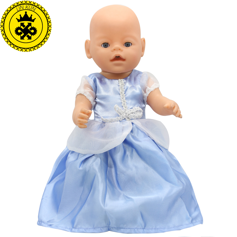 Zapf Baby Born Doll White Lace Blue Princess Dress Clothes fit 43cm Doll or 17inch Doll Accessories Handmade Elegant Style 106