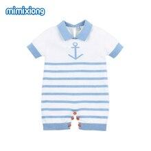 где купить Baby Rompers Summer Stripe Crochet Baby Girl Jumpsuit Clothes Blue Short Sleeved Newborn Boy Overalls Children One Piece Costume по лучшей цене