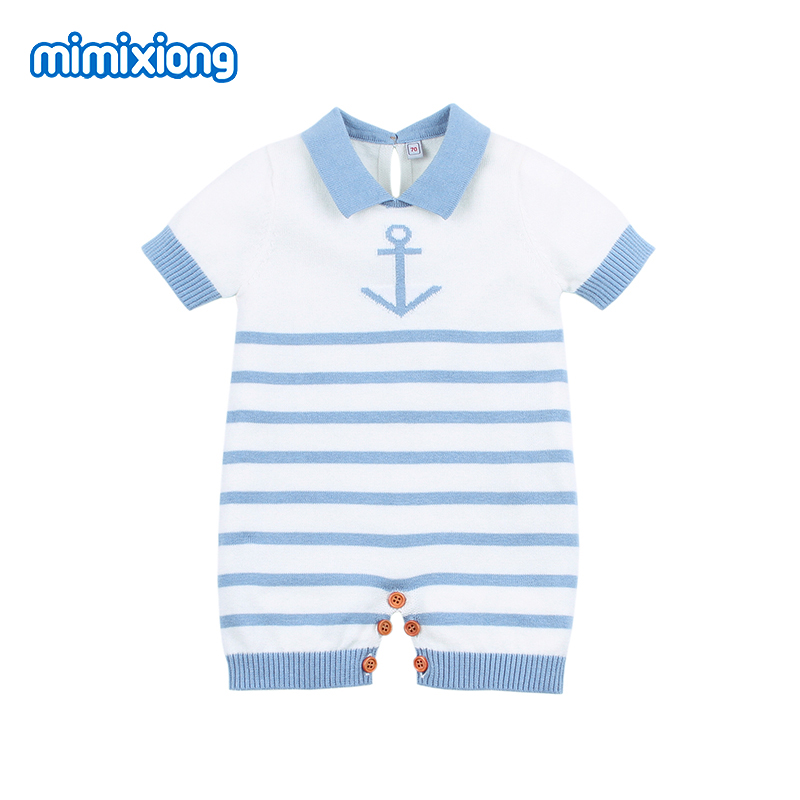 Summer Baby   Rompers   Stripe Crochet Baby Girl Jumpsuit Clothes Blue Short Sleeved Newborn Boy Overalls Children One Piece Costume