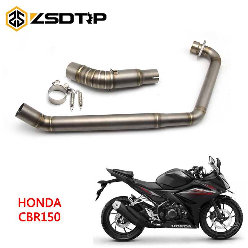 ZSDTRP Motorcycle Full System Exhaust Escape Modified Contact Front Middle Link Pipe Slip-on For Honda CBR150