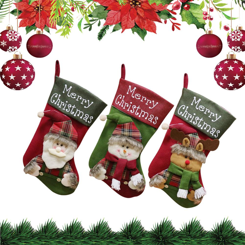 High Quality Christmas Sock Gift Bag For New Year Candy Bags Kids Ornament Tree Pendant In Drop Ornaments