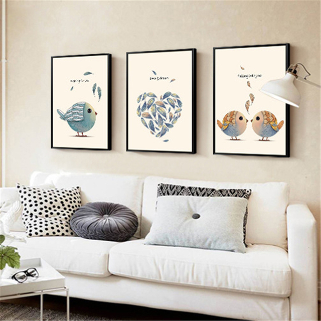 Love Feather Loving Couple Birds Theme Murals Nordic Style Simple Decorative Painting Canvas Wall Art Drawing
