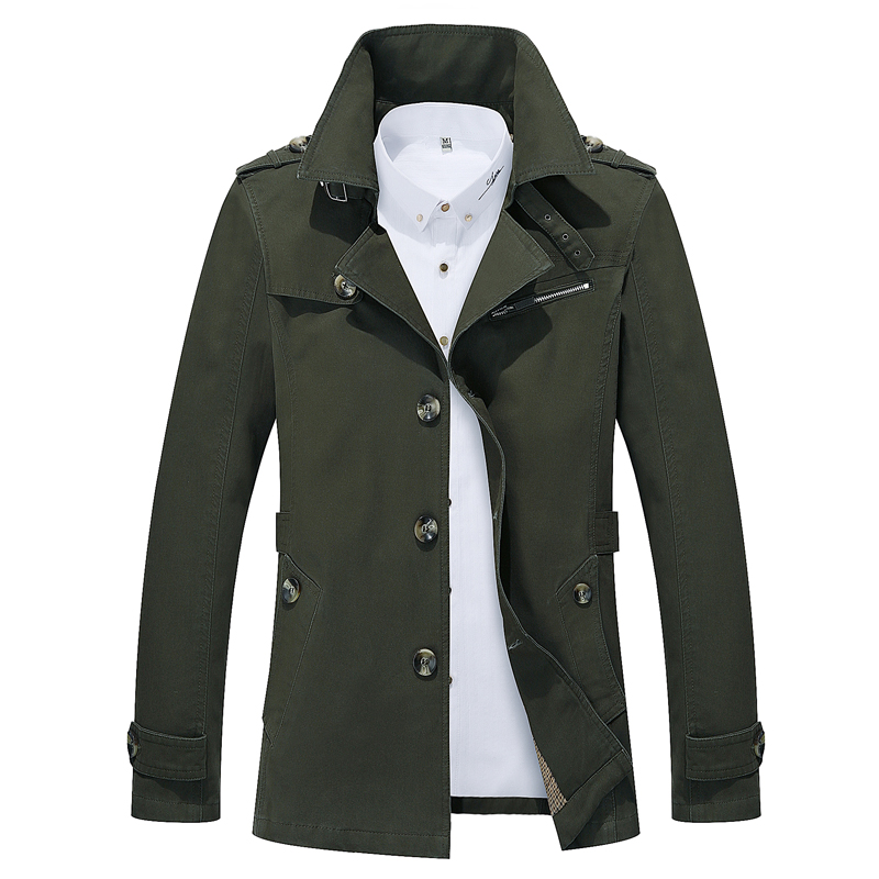 2018 Spring Fashion Men's Coat, Loose Long   Trench   , Large size High-quality Brand Solid Color Men's   Trench   S-5XL