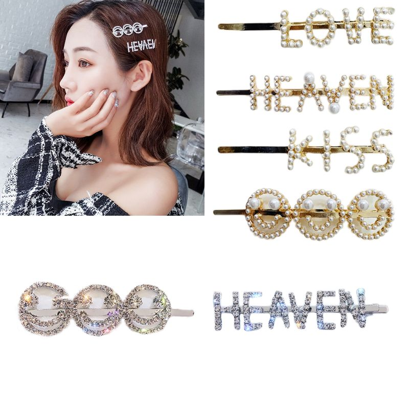 Shining Imitation Diamond Hair Pin Letter Smiley Clips Korean Style Ins Hairgrip Accessories