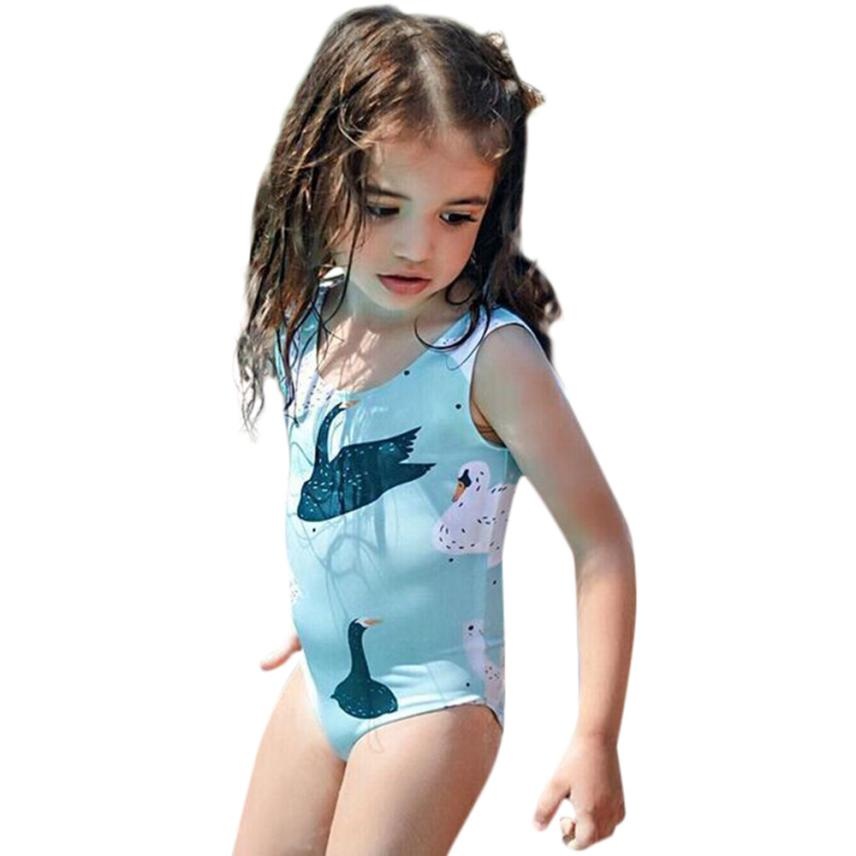 Baby Girls Swimwear Fresh Print Cartoon Animal Bikini OnePieces Girl Swimsuit for Summer Beach Cusual Party 18May14