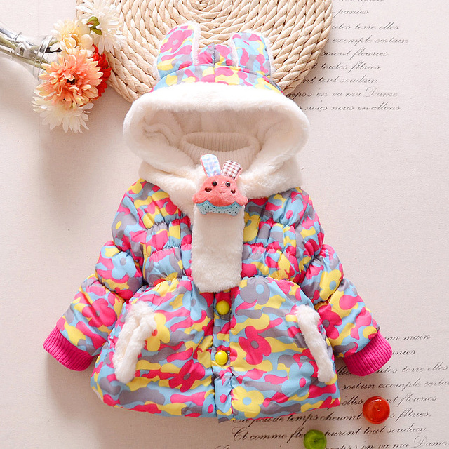 239115c54 Cute Rabbit Baby Winter Jacket Thick Cotton Padded Baby Girl ...