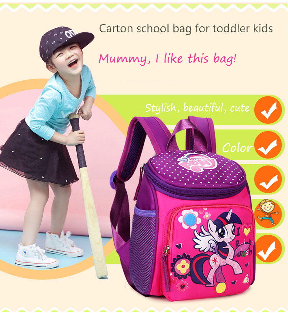 My little pony School bags for Toddler Kids Cute Children Mini Hello Kitty schoolbag Cartoon orthopedic Backpack for boys girls (3)