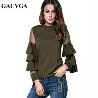 GACVGA 2017 Butterfly Sleeve Blouse Vintage Shirt Top Kimono Women Elegent O Neck Chiffon Blouse Blusas