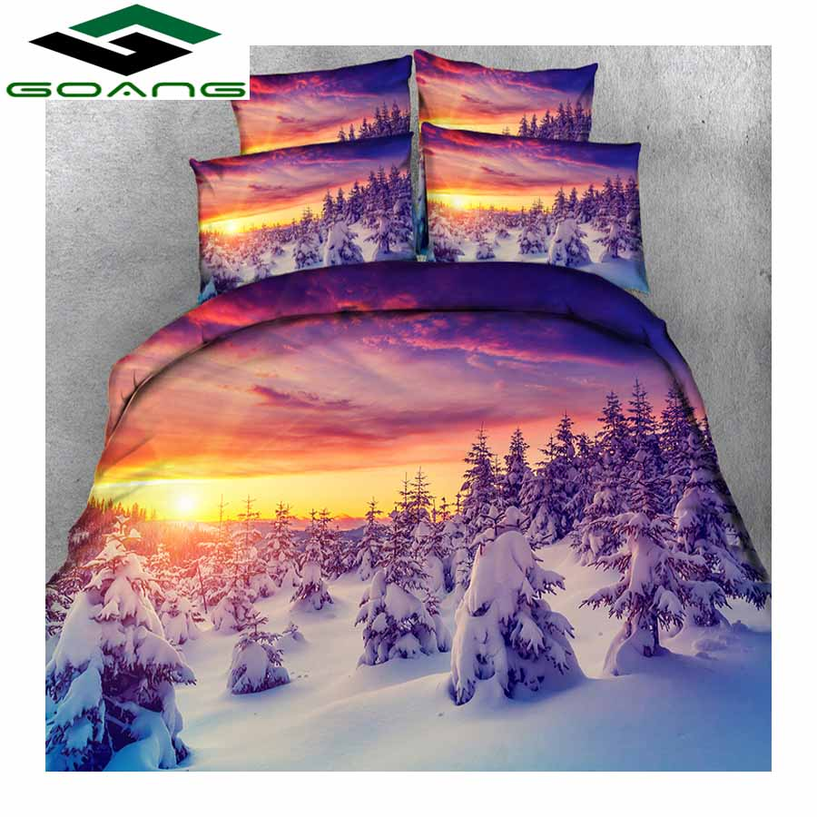GOANG Bedding Set Bed Sheet Duvet Cover Pillow Case 3D Digital Printing Winter Sunset Landscape Luxury Bedding Factory Wholesale