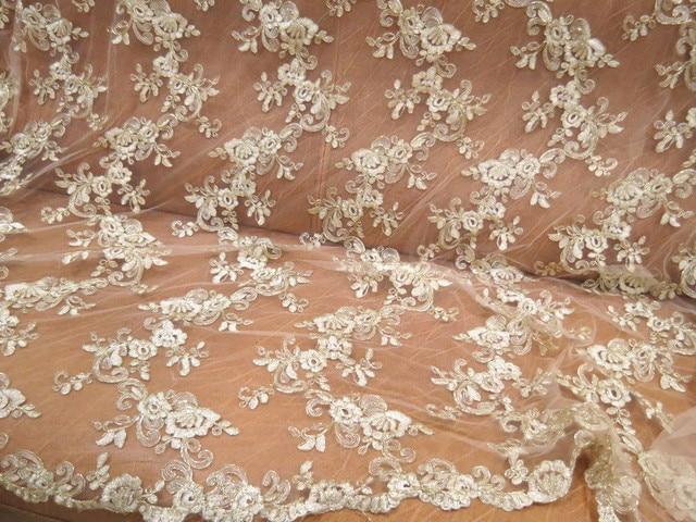 120 cm ancho glitte oro encaje tela para vestidos de boda africana