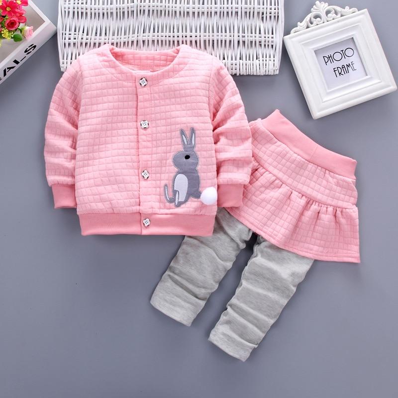 Babykleding Sets Nieuwe Lente Herfst Baby Jongens Meisjeskleding Konijn Single-breasted Shirt + Broek 2-pack Suits Kinderkleding
