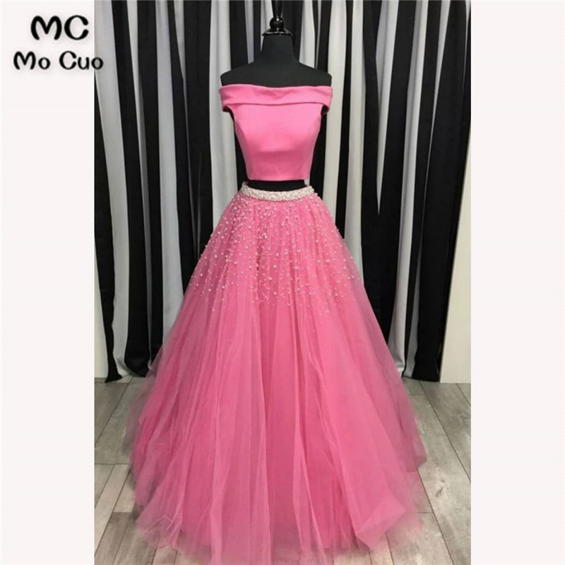 2018 Two Pieces Gown   Prom     dresses   Long with Pearls Tulle   dress   for graduation Off Shoulder Formal Evening   Prom     Dress