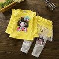 Sistemas de los niños 2017 Nueva Primavera Otoño ropa Para Niños Ropa Casual Niñas de Dos piezas de 2 a 6 años moda Ropa Casual