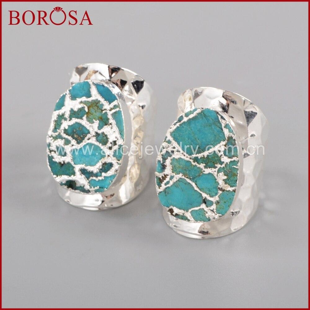 BOROSA sudraba krāsa 100% dabiskā zilā akmens Druzy joslas - Modes rotaslietas - Foto 3