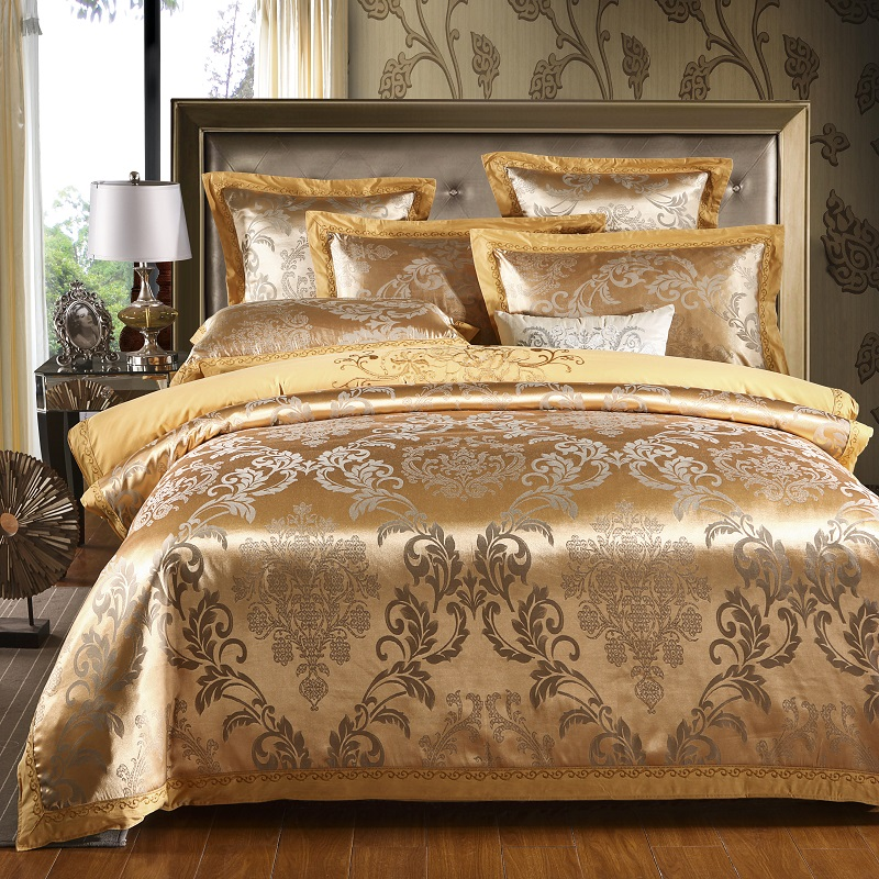 Sateen cotton gold duvet cover cotton bed sheet queen king size 4pcs bedding set luxury embroidery bed set pillow shams|Bedding Sets| |  - title=