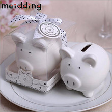 MEIDDING White Piggy Bank Creative Gifts Ceramic Pig Money Box for child kids Saving Coin Cent Penny Baby Shower Birthday Gifts