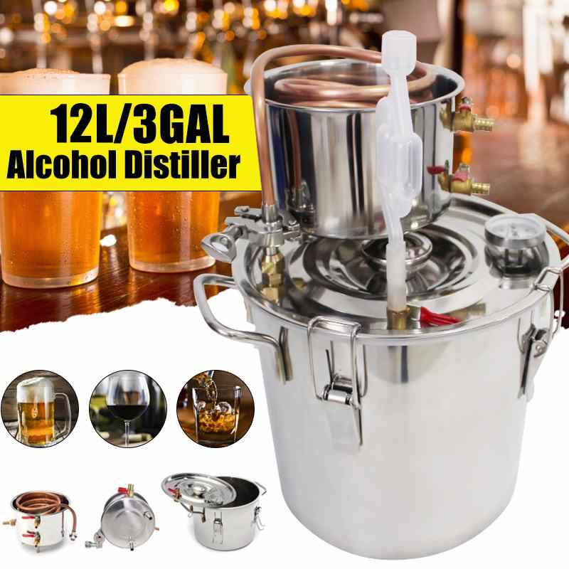Durable 12L DIY Home Distiller Moonshine Alcohol Stainless Copper Water Wine Essential Oil Brewing Kit