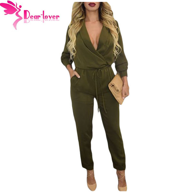 Dear Lover 2016 Autumn Rompers Women Jumpsuit Army Green Sleeve V-neck Jumper Macacao Feminino Longo Overalls Bodysuits LC60680