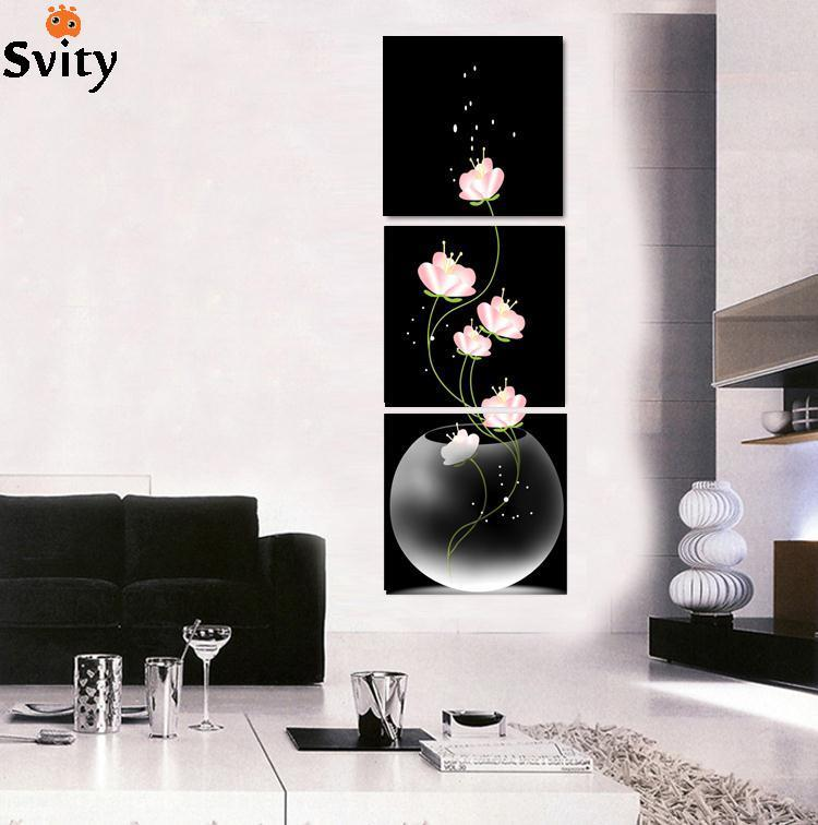 3 Pieces Free Shipping popular Hot Sell Modern Wall Painting abstract Flowers Home Wall Art Picture Paint on Canvas Prints