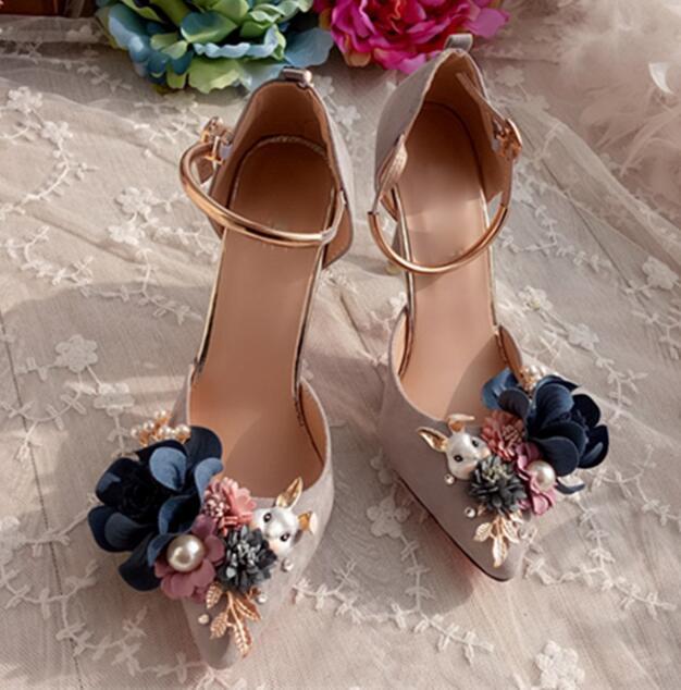 Pointu Bout Chaussures Showed Talon Robe Talons Mince Fleurs À De Doux Lapin Pompes Décor Color Hauts Soirée Sandales Sexy As as Femme Luxe Color ZzRqvv