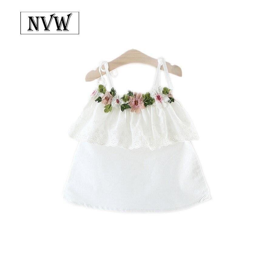 Envío del verano del bebé sin mangas de encaje y flores ropa para 1-2-3 años de