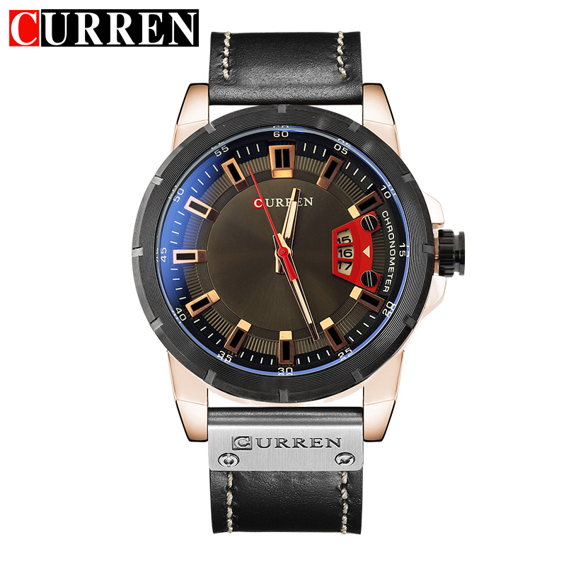 CURREN Mens Watches Top Brand Luxury Leather Casual Quartz Watch Men Military Sport Clock Wrist Watch For Men Relogio Masculino sunward relogio masculino saat clock women men retro design leather band analog alloy quartz wrist watches horloge2017