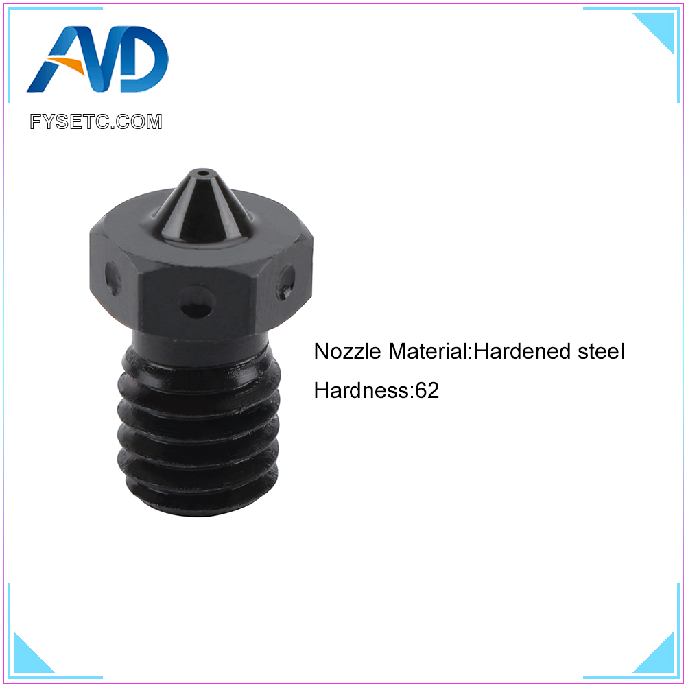 Top Quality Hardened Steel V6 Nozzles For High Temperature 3D Printing PEI PEEK Carbon Fiber Filament For E3D Titan Aero Hotend image