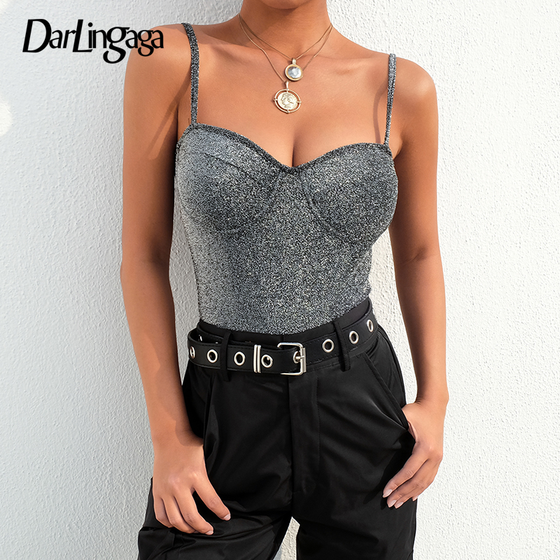 Darlingaga Strap Bling Glitter Bodysuit Women Sexy Body Club Party Bodycon Jumpsuit Rompers Fashion 2020 Summer Bodysuits Tops