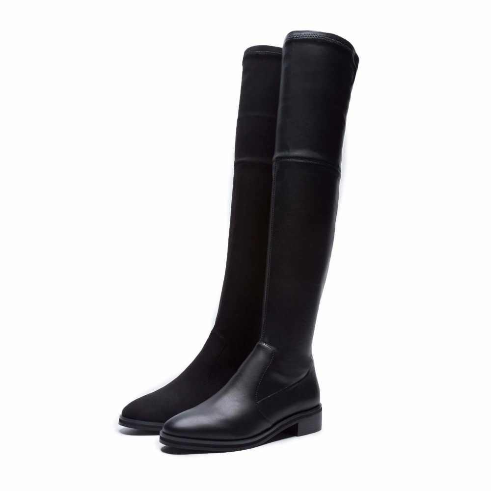 Krazing Pot 2019 inek deri inek süet streç çizmeler ince bacak uzun çizmeler sıcak tutmak düşük topuklu lüks sürme diz yüksek çizmeler L10