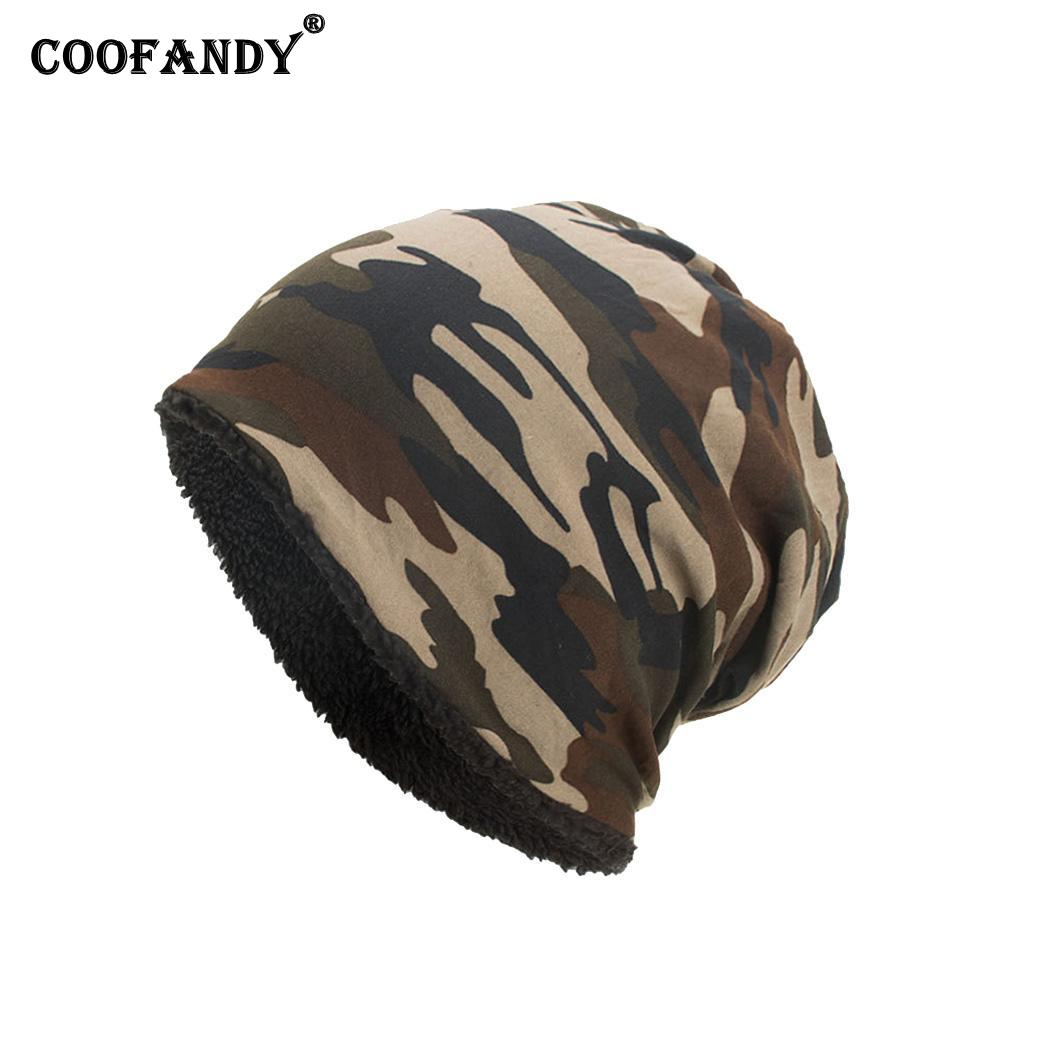 Men Casual Camouflage Stretchable Plush Skull Cap Fall, Winter Beanies Hat Casual, Street, Outdoor(China)